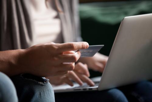 A person entering card details online