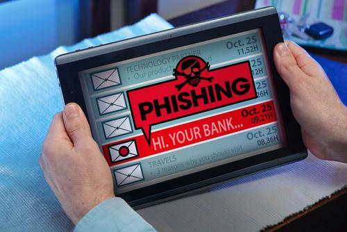 Phishing alert on a tablet