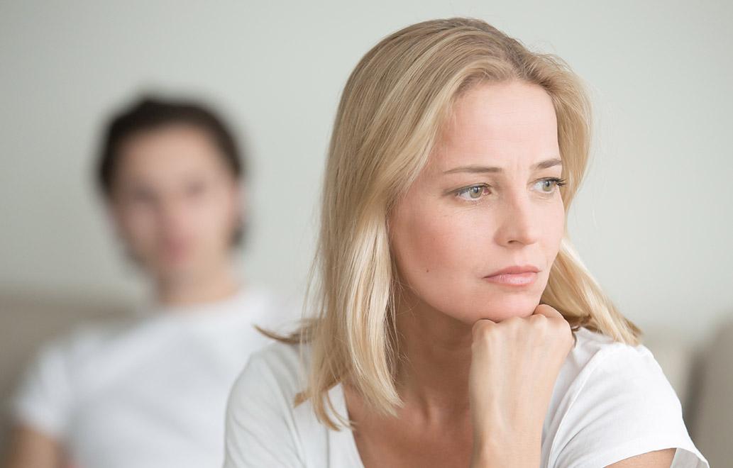 A woman ponders her divorce